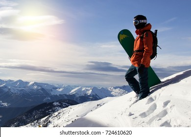 snowboarder on the background of mountains and blue sky.