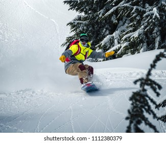 Snowboarder Riding Backcountry Powder Fast Profile