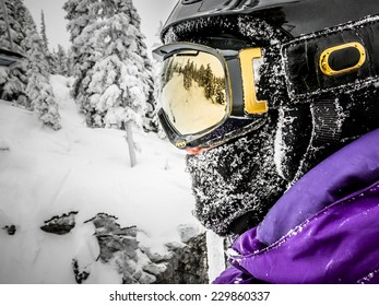 Snowboarder or Skier Side Profile Portrait Outdoors