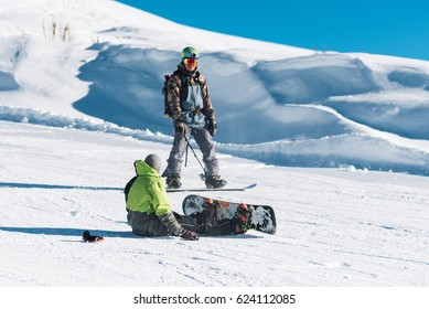 snowboarder trainer teach man in the mountain hill