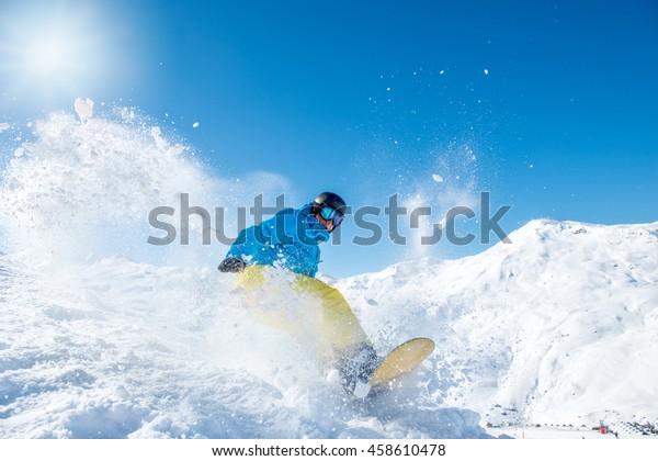 Snowboarder Winter Sports Gear Riding Down Stock Photo Edit