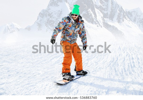 Snowboarder Winter Sports Gear Riding Down Nature Sports
