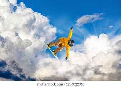 snowboarding in the clouds