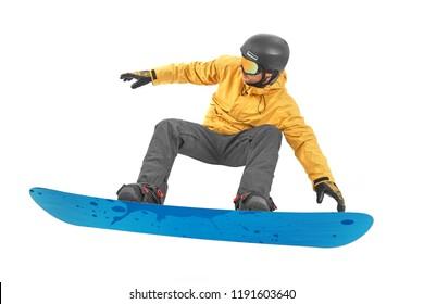 Snowboarding flip on white