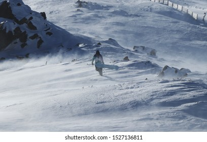 Snowboarding Snowboard Snowboarder. Freerider in colored clothes walks with his board through windstorm. Teenager going to the top of mountain for better race. He is struggling with the wind.