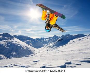 snowborder in fly