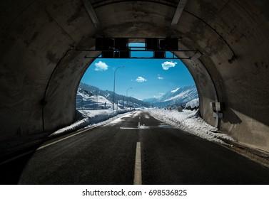 Snowbound road tunnel