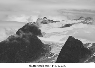Snow-capped Mountains in Alaska - Black and White