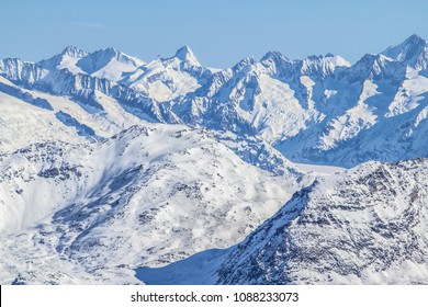Snow-capped mountains of Saas-Fee in Switzerland
