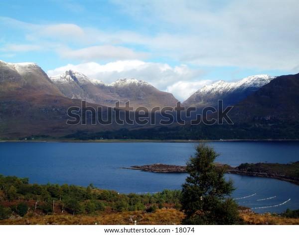 Snowcapped Torridon Mountains