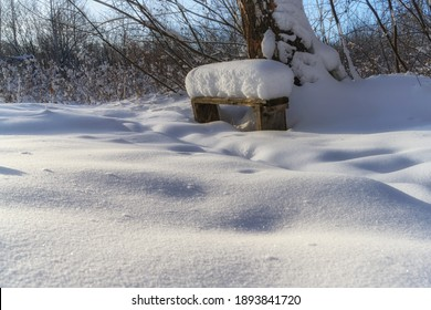 snow-covered bench in the forest. white fluffy snow field with textured grainy surface. snow crystals are visible. the photo was taken on a frosty winter clear day. blue sky. a place for solitude