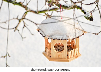 Snow-covered bird house with birdseed