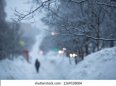 Snow-covered branches and snowflakes in the air. Out of focus is a human figure and glittering lights. Cold winter snowy weather. Evening twilight. Magadan, Far East of Russia. Perfect for background.