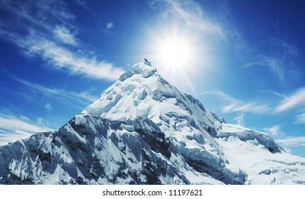 Snowcovered high mountain in Cordilleras