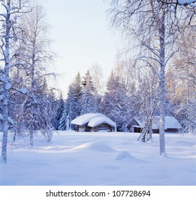 Snow-covered houses with bare trees