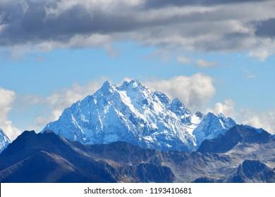 Snow-covered mountain top Pshish. Russia, Karachay-Cherkessia, Arkhyz