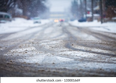 Snow-covered road, the marks of wheels