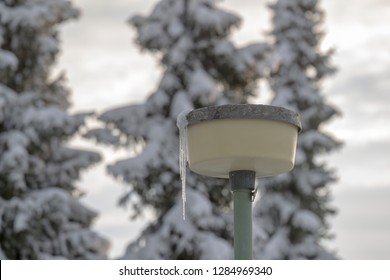 snow-covered street lamp with icicles in front of snowy trees in winter