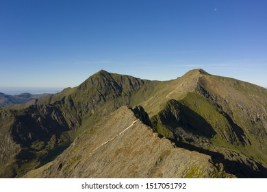 Snowdonia mountain range in Wales, UK with Crib Goch and Mount Snowdon summits
