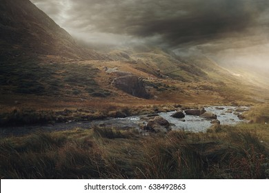 Snowdonia panorama with fantasy colors