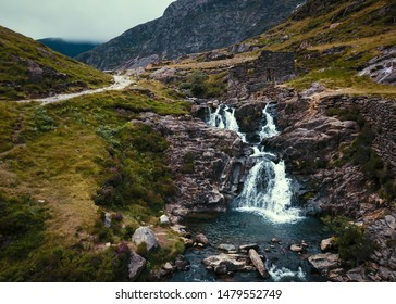 Snowdonia, Wales, UK- beautiful waterfall and a mountain hiking path en route to Mount Snowdon