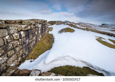 Snowdrift at Milecastle 42 on Hadrian's Wall, a World Heritage Site in the beautiful Northumberland National Park. Popular with walkers along the Hadrian's Wall Path and Pennine Way
