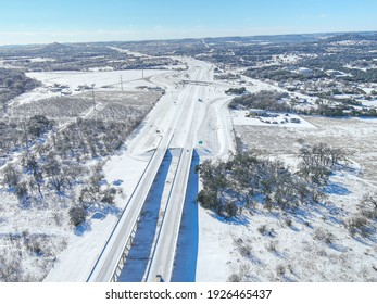 Snowed in Interstate 10 near Comfort Texas during the Texas Winter Storm 2021 taken with a drone