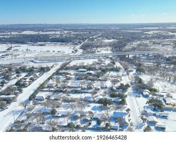 Snowed in neighborhood in Comfort Texas during the snowstorm week of 2021