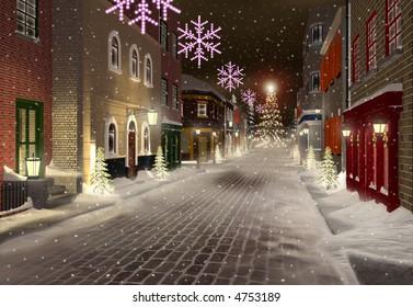snowed street in christmas town