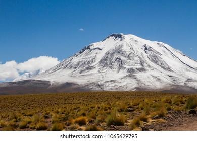 An snowed volcano