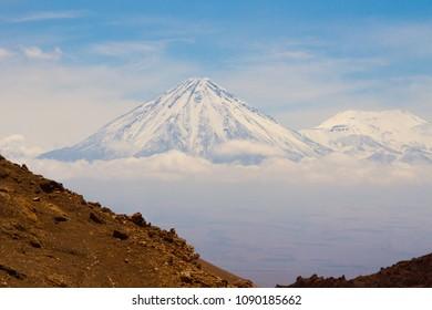 A snowed volcano