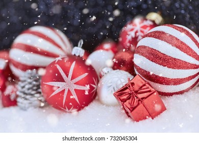 Snowey christmas background with decoration for holiday card