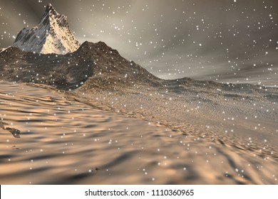 Snowfall, 3d rendering, a winter landscape, snowy mountains and a cloudy sky.