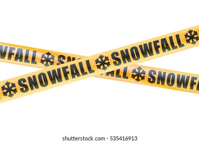 Snowfall Caution Barrier Tapes, 3D rendering isolated on white background