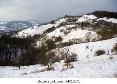 snowfall in mount landscape