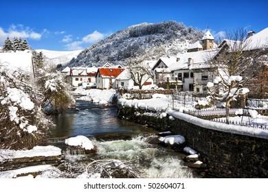 Snowfall in Ochagavia village in Navarra