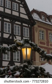 snowfall on christmas marketplace in advent december at a historical city of south germany near cities of munich and stuttgart 2