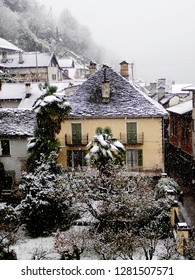 Snowfall on the Houses in the Rural Village of Loco in the Onsernone Valley, Ticino, Switzerland in Winter