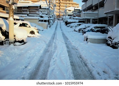 snowfall on road in the village of Japan
