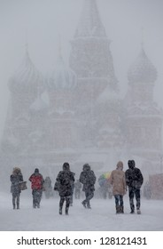 Snowfall in the Red Square with St. basil's cathedral in background
