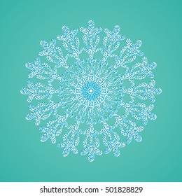 Snowflake with abstract doodle pattern. Christmas collection.