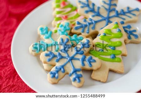Snowflake Christmas Tree Shaped Sugar Cookies Stock Photo Edit Now