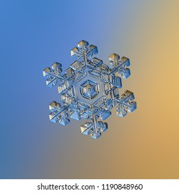 Snowflake glittering on smooth gradient background. Macro photo of real snow crystal: elegant stellar dendrite with glossy relief surface, ornate shape, fine hexagonal symmetry and complex details.