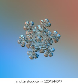 Snowflake glittering on smooth gradient background. Macro photo of real snow crystal: elegant star plate with fine hexagonal symmetry, short ornate arms, glossy relief surface, complex inner details.