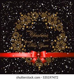 Snowflake gold Mandala. Holiday greeting Happy New Year Christmas with snowflake background.illustration