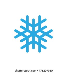 Snowflake icon. Blue silhouette snow flake sign, isolated on white background. Flat design. Symbol of winter, frozen, Christmas, New Year holiday. Graphic element decoration. illustration