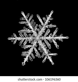 snowflake isolated on a black background natural
