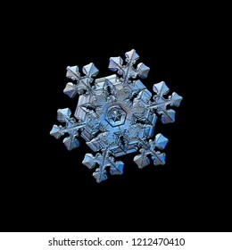 Snowflake isolated on black background. Macro photo of real snow crystal: elegant stellar dendrite with hexagonal symmetry, glossy relief surface, massive central hexagon and short, ornate arms.