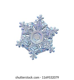 Snowflake isolated on white background. Macro photo of real snow crystal: beautiful star plate with fine hexagonal symmetry, six short, broad arms and glossy relief surface with complex inner details.