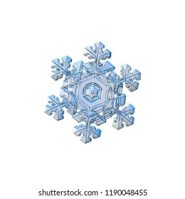 Snowflake isolated on white background. Macro photo of real snow crystal: elegant stellar dendrite with hexagonal symmetry, glossy relief surface, massive central hexagon and short, ornate arms.
